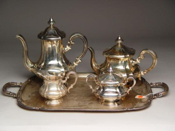 100: 5pc Continental Silver Tea Coffee Service
