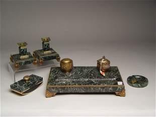 5pc French Empire Bronze Marble Desk Set