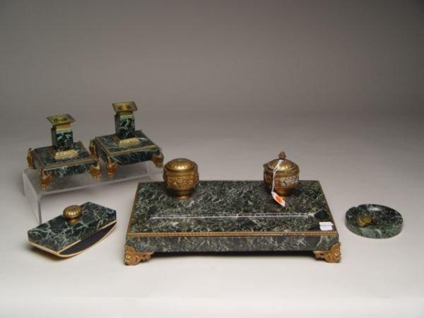 102: 5pc French Empire Bronze Marble Desk Set