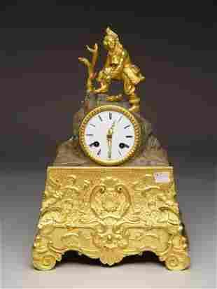 French Gilt Bronze Figural Mantle Clock