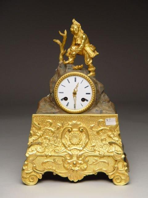 107: French Gilt Bronze Figural Mantle Clock