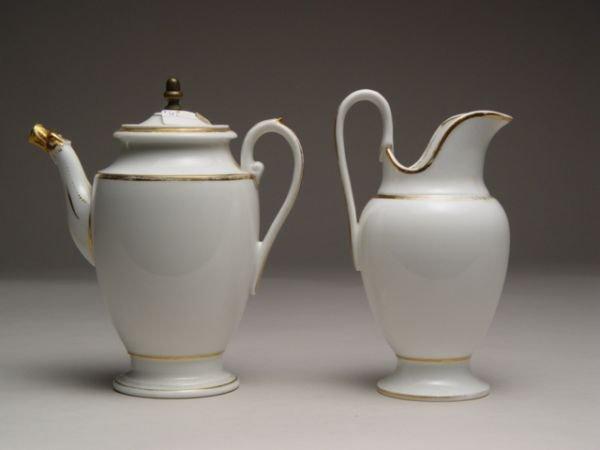 110: French Empire Porcelain Coffee Pot & Creamer,