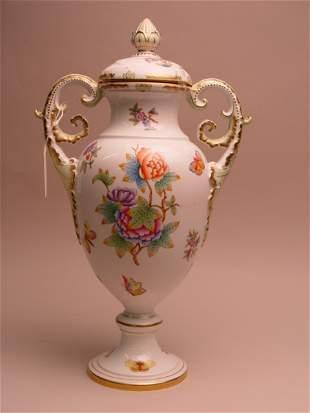 Large Herend Porcelain Covered Urn