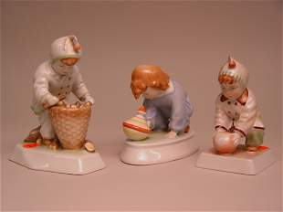 A Group of Three Zsolnay Figurines