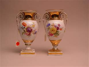 A Pair of Meissen Porcelain Two-Handled Urns