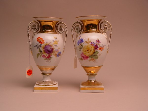 121: A Pair of Meissen Porcelain Two-Handled Urns