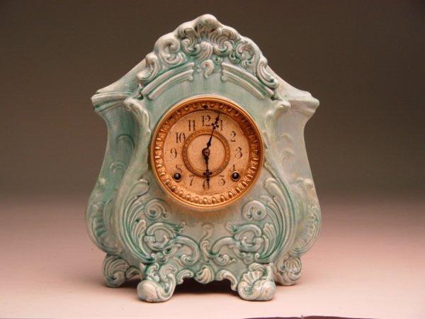 119A: Antique Ansonia Porcelain Case Clock