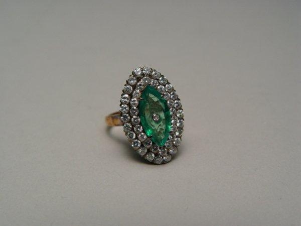 1002: Lady's 18k Gold, Diamond, Emerald Ring