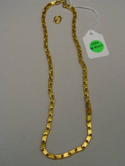 """1004: 20"""" Antique Solid Gold Chain Link Necklace"""