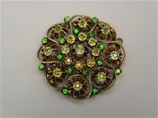 Antique 14k Gold Green Garnet Brooch