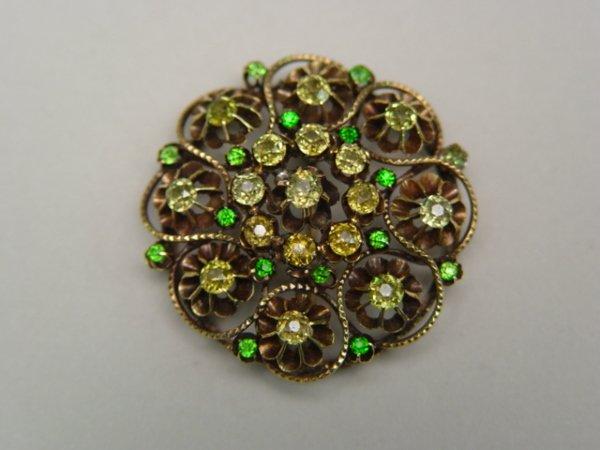 1013: Antique 14k Gold Green Garnet Brooch