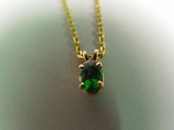 1015: Lady's Tsavorite & Gold Pendant Necklace