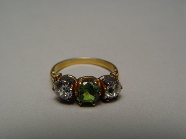 1016: Antique Diamond & Demantoid Garnet Ring