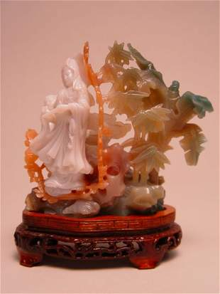 Tri-Color Chinese Carved Jadeite Figural Group