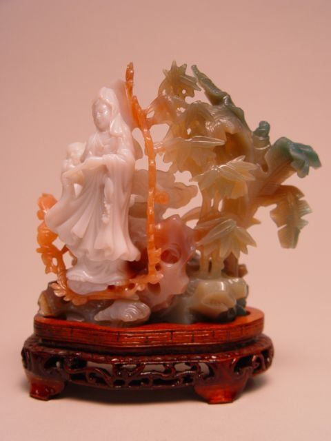 1017: Tri-Color Chinese Carved Jadeite Figural Group