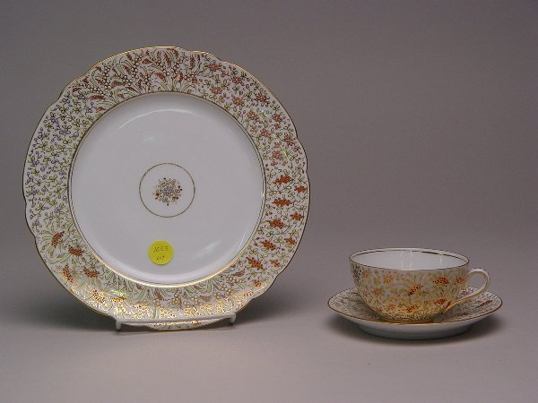 123: Continental Porcelain Enamel Docorated Dessert Set