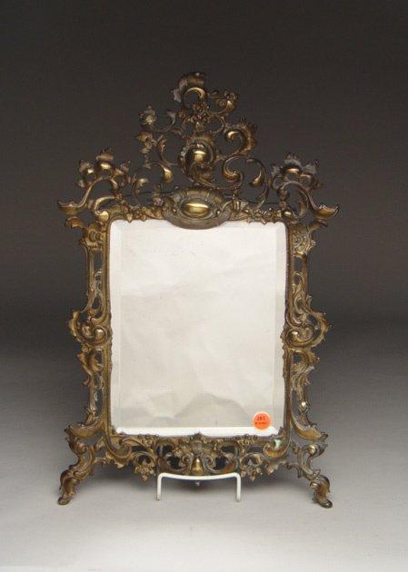 116: Gilt Metal Beveled Glass Wall Mirror