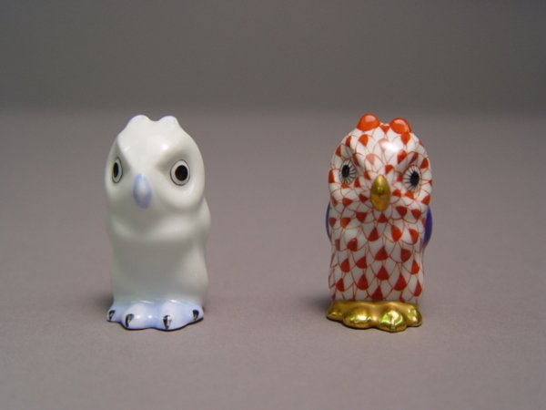 117: Two Herend Owl Figurines Rust Fishnet