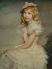 216: Greta Kempton Girl in a Ruffled Dress Oil