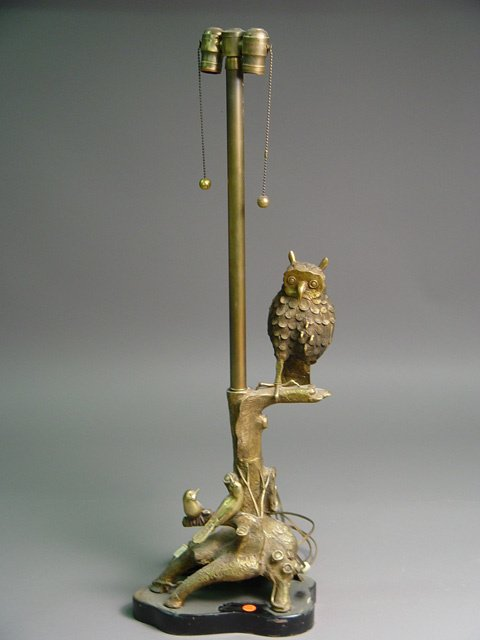 1022: Brass Figural Owl Table Lamp