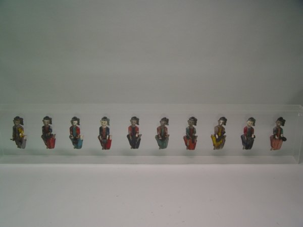 1021: 10 Indonesian Carved Painted Wood Musicians