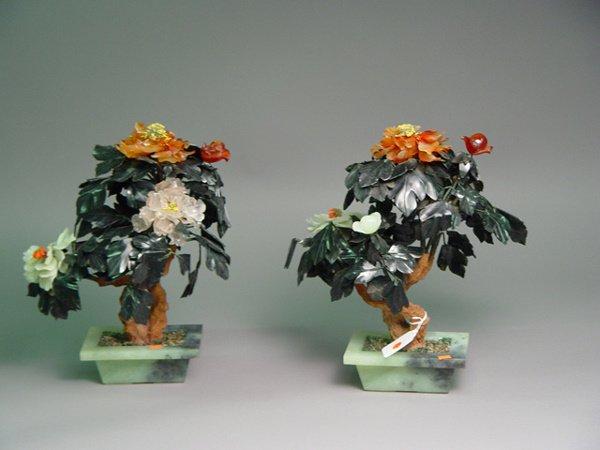1018: Pair of Chinese Hardstone Trees