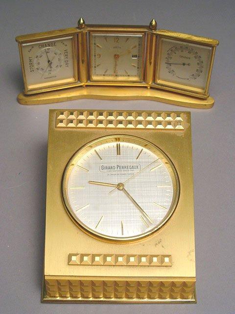 1005: Girard-Perregaux Gilt Metal Case Swiss Desk Clock