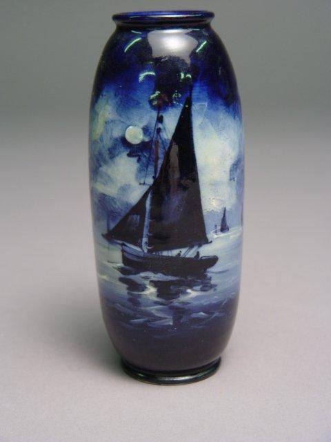 1007: Royal Daulton Blue Flambe Vase