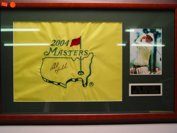 125: Phil Mickelson Signed Masters Flag 2004