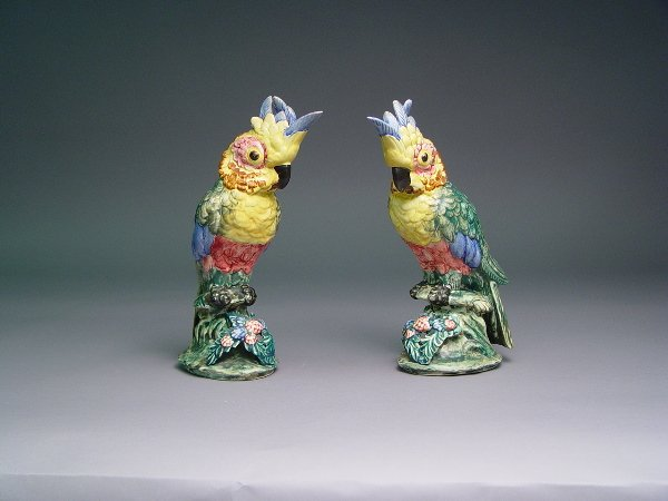 123: Pair of Stangl Glazed Pottery Cockatoos