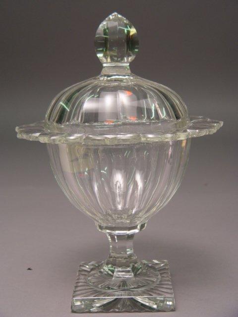109: Pair circa 1800 Irish Covered Crystal Jars