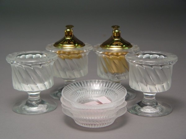 113: Signed French Lalique Crystal Cigarette Items