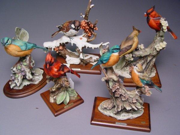 1027: 5 Armani Bird Figurines Sparrow Cardinal Bluebird