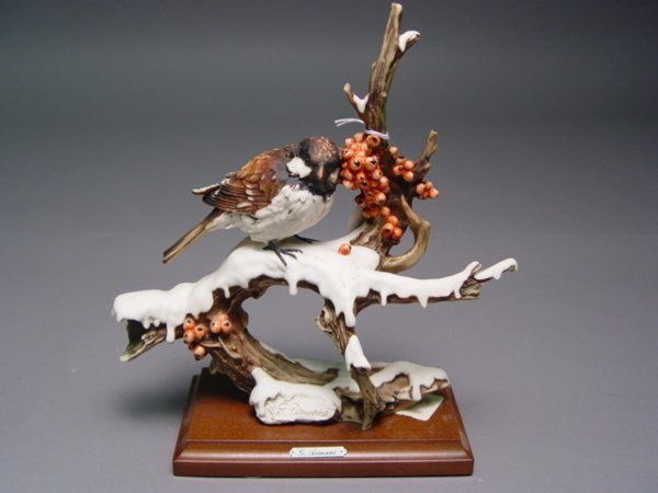 1027: 5 Armani Bird Figurines Sparrow Cardinal Bluebird - 5