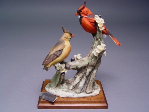 1027: 5 Armani Bird Figurines Sparrow Cardinal Bluebird - 6