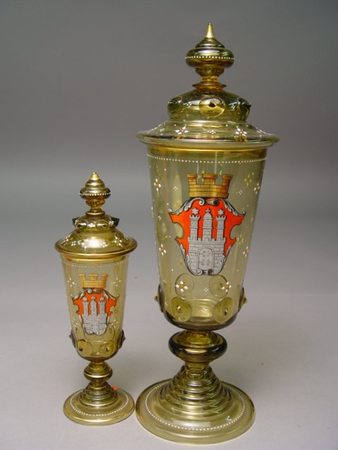1007: 2 Bohemian Glass Enameled Covered Goblets 1880