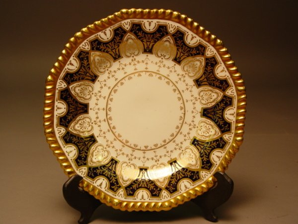 1008: 10 Wedgwood Bone China Service Plates Gold & Coba