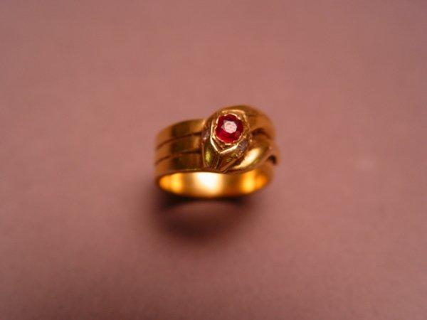 1247: 14K Yellow Gold Snake Ring