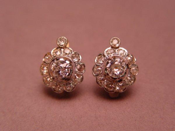 1284: Pair of 14k Gold Platinum & Diamond Earrings