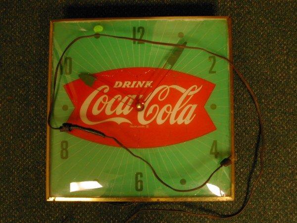 1018: Coca Cola Clock Green White & Red 1960's
