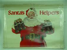1196: Large Coca cola Cardboard Santa Sign