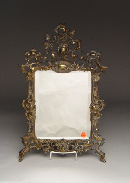 114: Gilt Metal Beveled Glass Wall Mirror