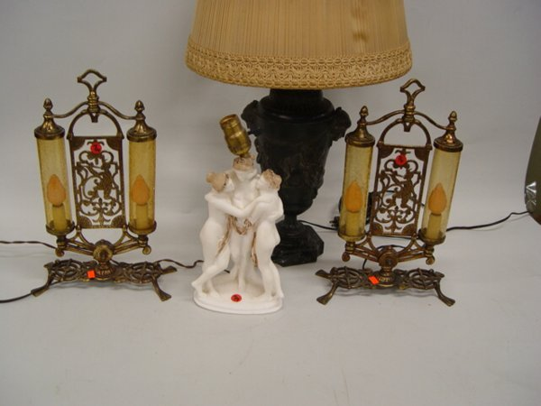 7: Group of Four Table Lamps  Carved alabaste