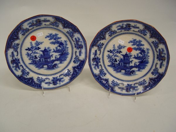 18: Two Flow Blue Dinner Plates, Peking patte
