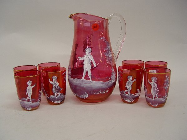 22: A Mary Gregory Style Libation Set compris