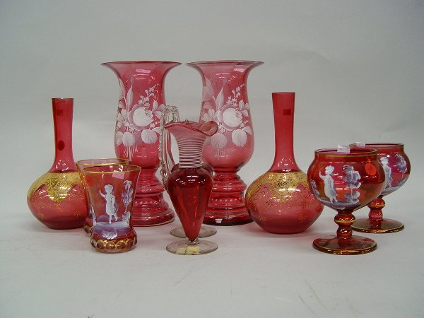 24: Group of Cranberry Glass Table Articles,