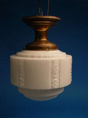 Brass And Milk Glass Hanging Light Fixt