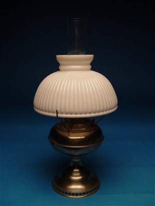 """Bradley & Hubbard Oil Lamp, with milk"