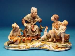 """Capodimonte Merli Figural Group,C'era"