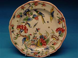"""""""Two 19th c. French Gien Faience Plates"""